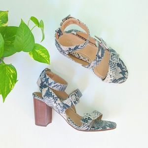 Vionic Snake Patterned Three Strapped Buckle Heels